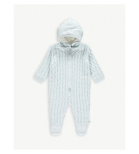 THE LITTLE TAILOR Cable knit cotton baby grow 0-9 months (Blue