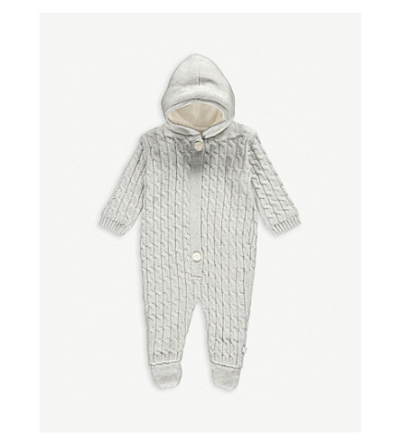 THE LITTLE TAILOR Cable knit cotton babygrow 0-9 months (Soft+grey