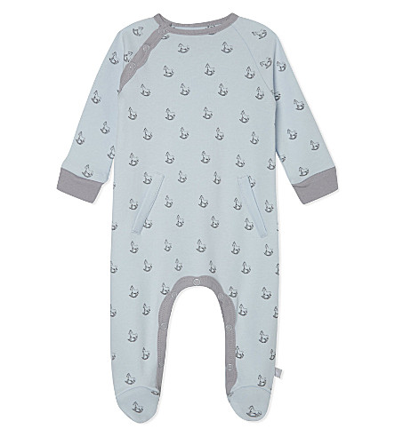 THE LITTLE TAILOR Rocking horse-print jersey babygrow 0-9 months (Blue