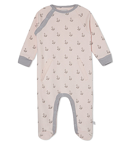 THE LITTLE TAILOR Rocking horse-print jersey babygrow 0-9 months (Pink