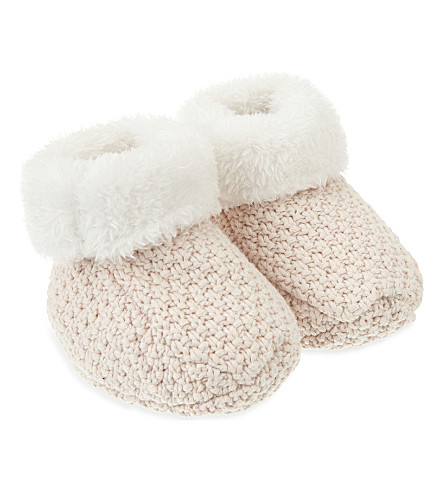 THE LITTLE TAILOR Knitted booties 0-6 months (Pink