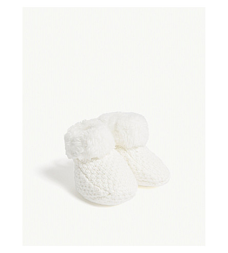 THE LITTLE TAILOR Knitted plush-lined cotton bootees 0-6 months (Cream