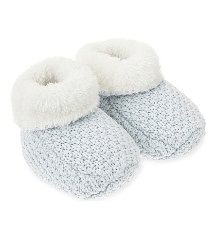 THE LITTLE TAILOR Knitted booties 0-6 months (Blue
