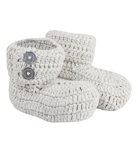 THE LITTLE TAILOR Knitted booties 0-6 months (Soft+grey