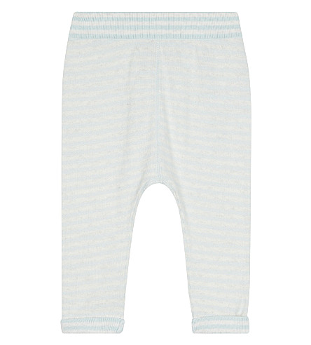 THE LITTLE TAILOR Striped cotton and cashmere-blend leggings 0-12 months (Blue+stripe