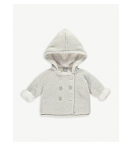 THE LITTLE TAILOR Knitted cotton pixie jacket 0-12 months (Soft+grey