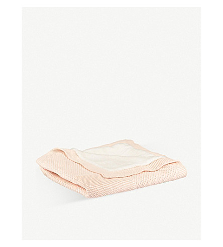THE LITTLE TAILOR Cable knit fleece blanket (Pink