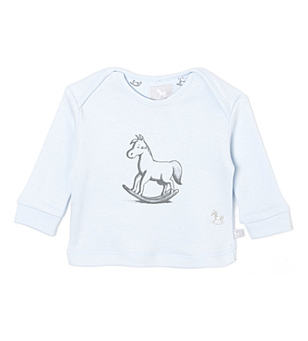THE LITTLE TAILOR Rocking horse-print cotton jersey 0-9 months (Blue