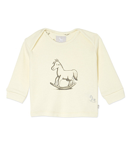 THE LITTLE TAILOR Rocking horse print top 0-9 months (Cream