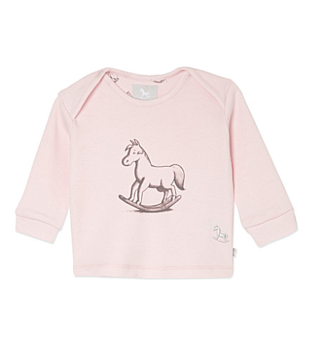 THE LITTLE TAILOR Rocking horse print top 0-9 months (Pink
