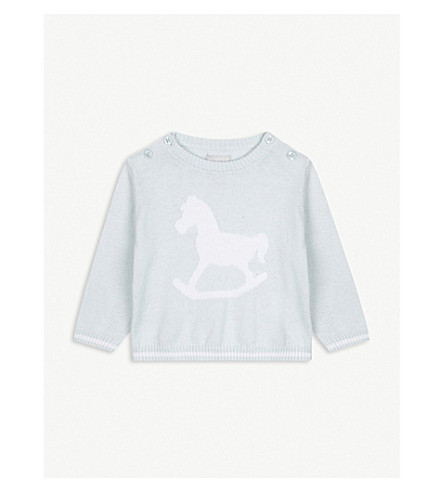 THE LITTLE TAILOR Rocking horse knitted jumper 0-12 months (Blue
