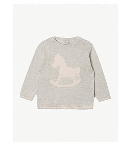 THE LITTLE TAILOR Rocking horse cotton jumper 0-12 months (Soft+grey