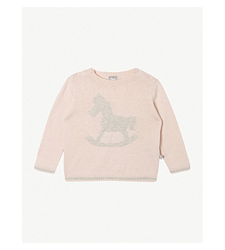 THE LITTLE TAILOR Rocking horse cotton sweater 0-9 months (Pink