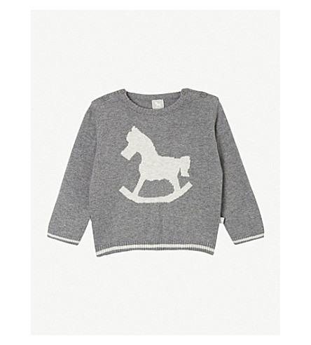 THE LITTLE TAILOR Rocking horse sweater 0-12 months (Charcoal