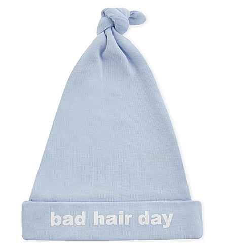 SNUGLO Bad Hair Day baby hat 0-6 months (White+on+sky+blue