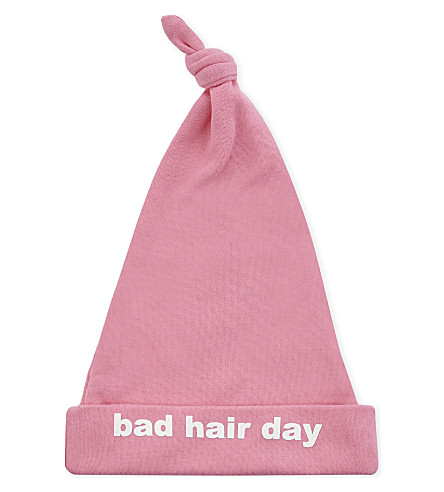 SNUGLO Bad Hair Day baby hat 0-6 months (White+on+candy+pink