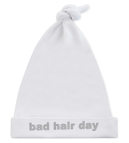 SNUGLO Bad Hair Day baby hat 0-6 months (Silver+on+white