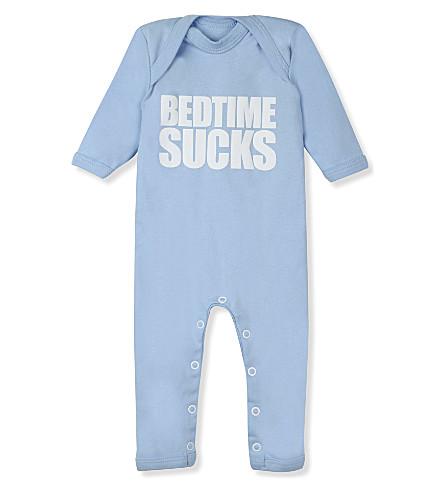 SNUGLO Bedtime sucks baby-grow 0-6 months (White+on+sky+blue