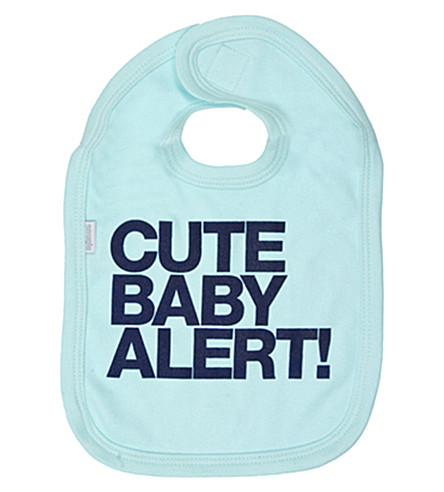SNUGLO 'Cute baby alert!' bib (Navy+on+aqua