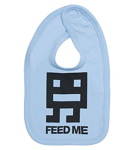 SNUGLO Feed Me bib (Black+on+sky+blue