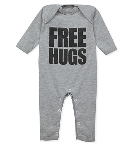 SNUGLO Free hugs baby-grow 0-6 months (Black+on+marl+grey