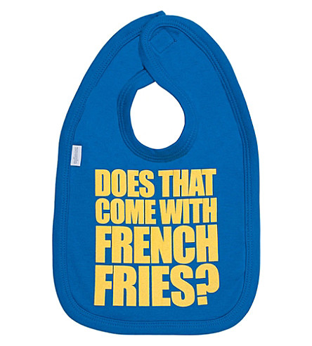 SNUGLO Does That Come with French Fries bib (Yellow+on+electric+blue