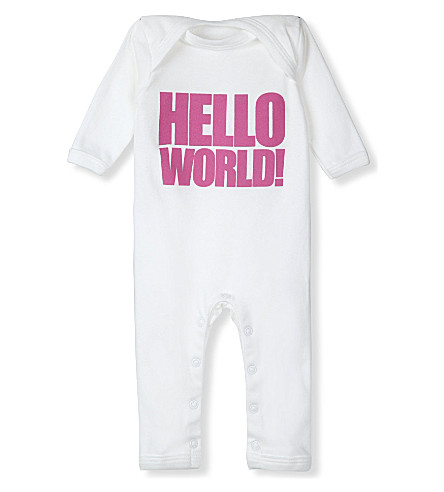SNUGLO Hello World baby-grow 0-6 months (Pink+on+white