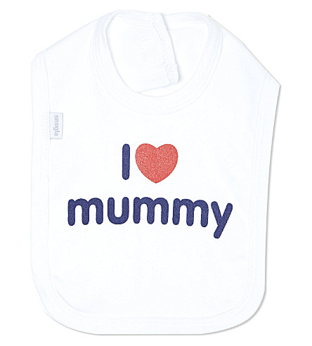SNUGLO I Love Mummy bib (Navy/red+on+white