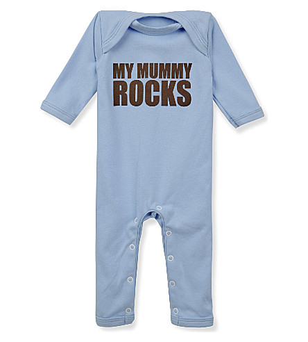 SNUGLO My Mummy Rocks baby-grow 0-6 months (Brown+on+sky+blue