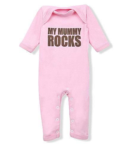 SNUGLO My Mummy Rocks baby-grow 0-6 months (Brown+on+baby+pink