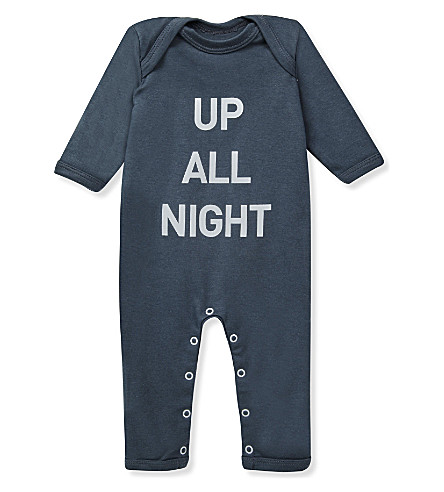 SNUGLO Up All Night baby-grow 0-6 months (White+on+charcoal+grey