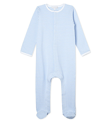 MAGNOLIA Football stripe sleepsuit newborn-12 months (Light+blue