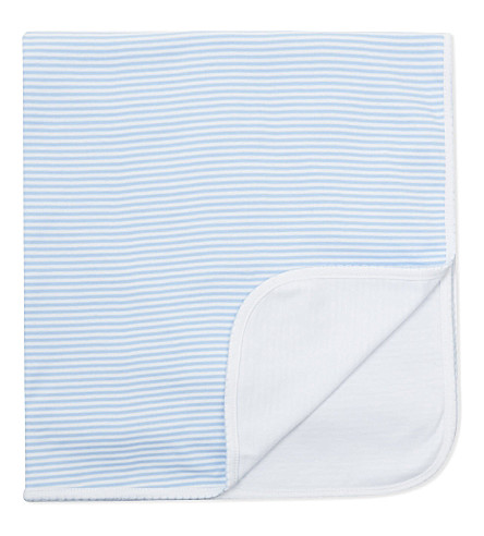 MAGNOLIA Striped cotton blanket (Light+blue