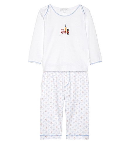 MAGNOLIA London pima cotton pyjama set 3-24 months (White/blue