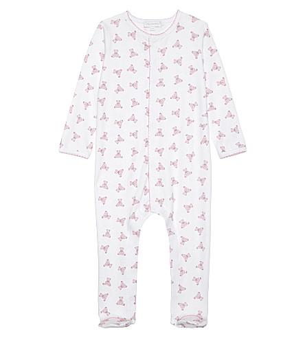 MAGNOLIA Teddy print pima cotton baby-grow Newborn-18 months (White pink