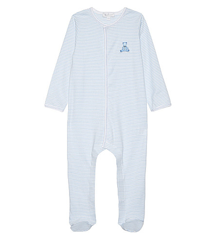MAGNOLIA Teddy pima cotton baby-grow newborn-18 months (White/blue