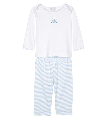 MAGNOLIA Teddy pima cotton pyjama set 3-12 months (White/blue