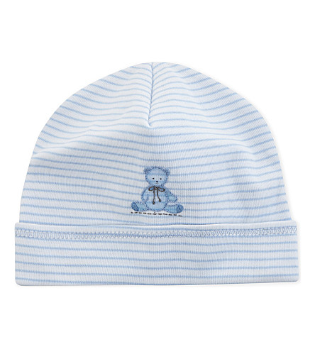 MAGNOLIA Teddy pima cotton hat 3-6 months (White/blue