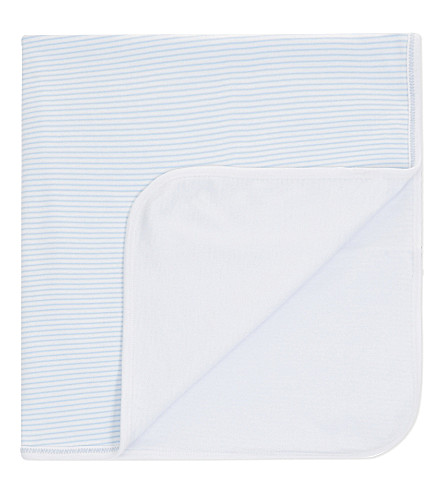 MAGNOLIA Teddy pima cotton blanket (White/blue