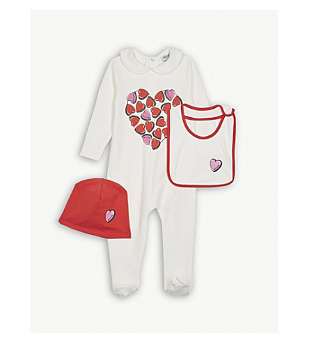 MOSCHINO Heart logo bodysuit hat and bib cotton set 1-12 months (White