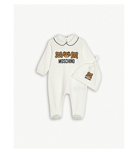 MOSCHINO Teddy bear babygrow and hat set 1-12 months (White