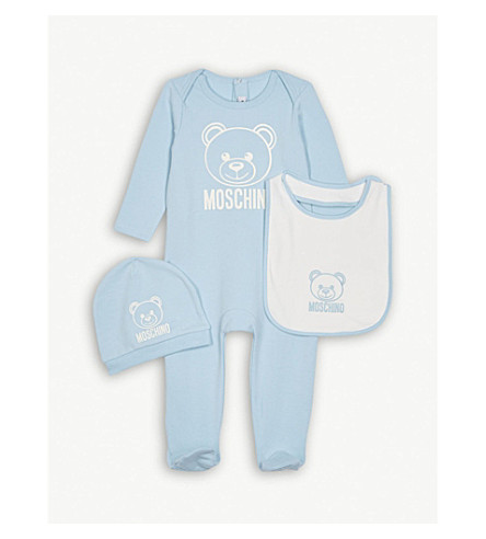 MOSCHINO Logo bodysuit, hat and bib cotton set 1-2 months (Blue