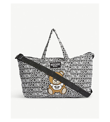 MOSCHINO Cotton bear print baby changing bag (Black