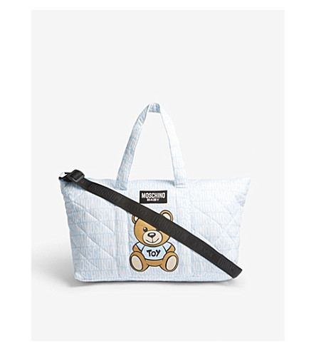 MOSCHINO Cotton bear print baby changing bag (Blue