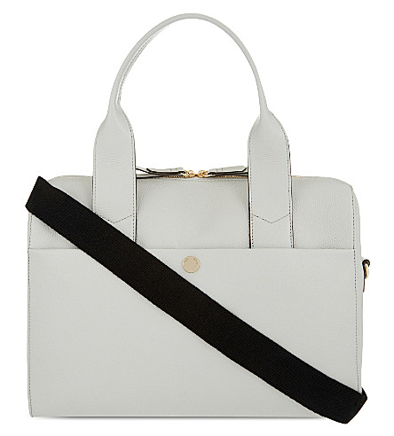 JEM + BEA Amber grained leather changing bag (Grey+white