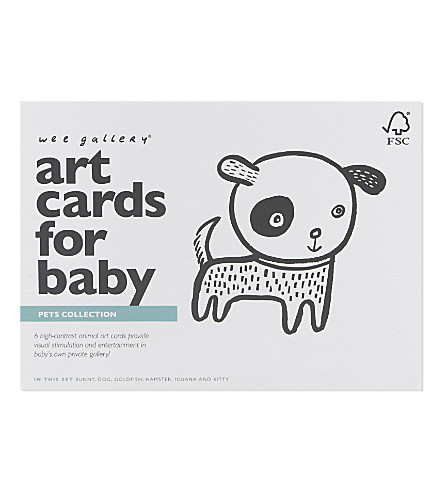 WEE GALLERY Pet art cards for baby set of six