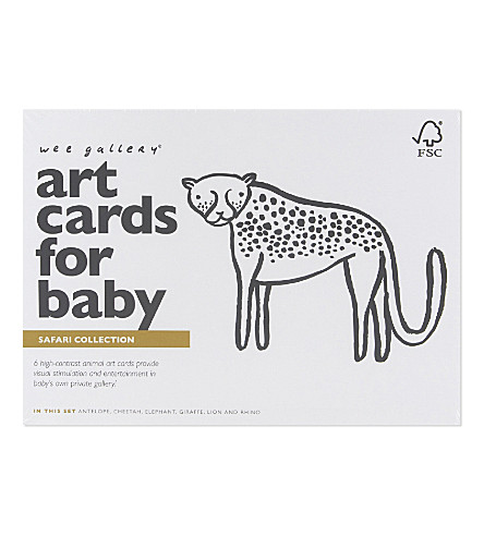 WEE GALLERY Safari art cards for baby set of six
