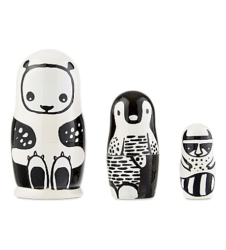 WEE GALLERY Animal wooden nesting dolls