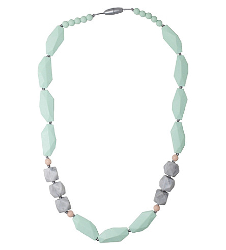 NIBBLING Brighton silicone teething necklace (Mint/marble
