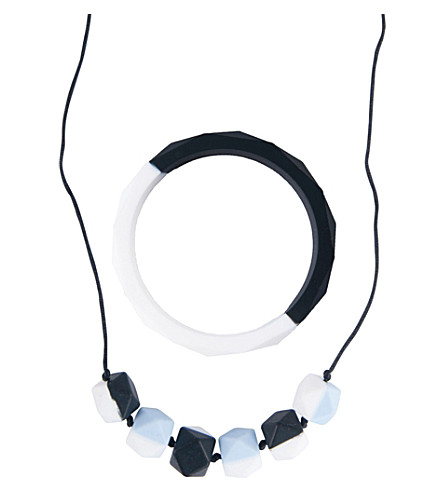 NIBBLING Half moon necklace & bracelet silicone teething set